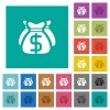 Dollar bags square flat multi colored icons - Dollar bags multi colored flat icons on plain square backgrounds. Included white and darker icon variations for hover or active effects.