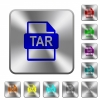 TAR file format rounded square steel buttons - TAR file format engraved icons on rounded square glossy steel buttons
