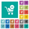 Remove item from cart square flat multi colored icons - Remove item from cart multi colored flat icons on plain square backgrounds. Included white and darker icon variations for hover or active effects.