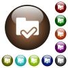 Folder ok color glass buttons - Folder ok white icons on round color glass buttons