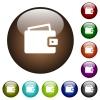 Single wallet color glass buttons - Single wallet white icons on round color glass buttons