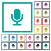 Single microphone flat color icons with quadrant frames - Single microphone flat color icons with quadrant frames on white background