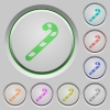 Candy canes push buttons - Candy canes color icons on sunk push buttons