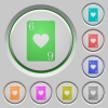 Six of hearts card push buttons - Six of hearts card color icons on sunk push buttons