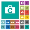Euro bag square flat multi colored icons - Euro bag multi colored flat icons on plain square backgrounds. Included white and darker icon variations for hover or active effects.
