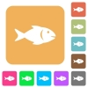 Fish rounded square flat icons - Fish flat icons on rounded square vivid color backgrounds.