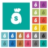 Dollar money bag square flat multi colored icons - Dollar money bag multi colored flat icons on plain square backgrounds. Included white and darker icon variations for hover or active effects.