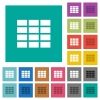 Spreadsheet square flat multi colored icons - Spreadsheet multi colored flat icons on plain square backgrounds. Included white and darker icon variations for hover or active effects.