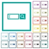 Search box with cursor flat color icons with quadrant frames - Search box with cursor flat color icons with quadrant frames on white background
