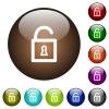 Unlocked padlock color glass buttons - Unlocked padlock white icons on round color glass buttons