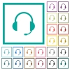 Headset with microphone flat color icons with quadrant frames - Headset with microphone flat color icons with quadrant frames on white background
