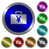 Yen bag luminous coin-like round color buttons - Yen bag icons on round luminous coin-like color steel buttons