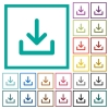 Download symbol flat color icons with quadrant frames - Download symbol flat color icons with quadrant frames on white background