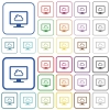 Cloud computing outlined flat color icons - Cloud computing color flat icons in rounded square frames. Thin and thick versions included.