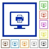 Print screen flat framed icons - Print screen flat color icons in square frames on white background