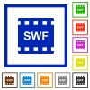 SWF movie format flat framed icons - SWF movie format flat color icons in square frames on white background