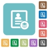 Multiple contacts rounded square flat icons - Multiple contacts white flat icons on color rounded square backgrounds