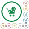 Checkout with Bitcoin cart flat icons with outlines - Checkout with Bitcoin cart flat color icons in round outlines on white background