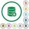 Database bug flat icons with outlines - Database bug flat color icons in round outlines on white background