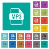 MP3 file format square flat multi colored icons - MP3 file format multi colored flat icons on plain square backgrounds. Included white and darker icon variations for hover or active effects.