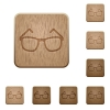 Eyeglasses on rounded square carved wooden button styles - Eyeglasses wooden buttons