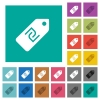 New Shekel price label square flat multi colored icons - New Shekel price label multi colored flat icons on plain square backgrounds. Included white and darker icon variations for hover or active effects.