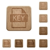 Private key file of SSL certification wooden buttons - Private key file of SSL certification on rounded square carved wooden button styles