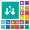 Send dollars square flat multi colored icons - Send dollars multi colored flat icons on plain square backgrounds. Included white and darker icon variations for hover or active effects.