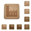 Factory building wooden buttons - Factory building on rounded square carved wooden button styles