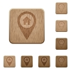 Home address GPS map location wooden buttons - Home address GPS map location on rounded square carved wooden button styles