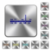 Radio tuner rounded square steel buttons - Radio tuner engraved icons on rounded square glossy steel buttons