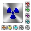 Radiation rounded square steel buttons - Radiation engraved icons on rounded square glossy steel buttons