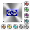 Dollar banknotes rounded square steel buttons - Dollar banknotes engraved icons on rounded square glossy steel buttons