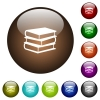 Books color glass buttons - Books white icons on round color glass buttons