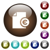 Euro financial report color glass buttons - Euro financial report white icons on round color glass buttons