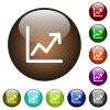 Line graph color glass buttons - Line graph white icons on round color glass buttons