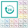 24 hour delivery flat color icons with quadrant frames - 24 hour delivery flat color icons with quadrant frames on white background