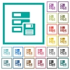 Data backup flat color icons with quadrant frames - Data backup flat color icons with quadrant frames on white background