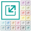 Resize window flat color icons with quadrant frames - Resize window flat color icons with quadrant frames on white background