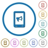 Mobile reading aloud icons with shadows and outlines - Mobile reading aloud flat color vector icons with shadows in round outlines on white background