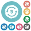 Bitcoin pay back guarantee sticker flat round icons - Bitcoin pay back guarantee sticker flat white icons on round color backgrounds