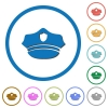 Police hat icons with shadows and outlines - Police hat flat color vector icons with shadows in round outlines on white background