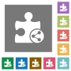 Share plugin square flat icons - Share plugin flat icons on simple color square backgrounds