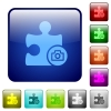 Camera plugin icons in rounded square color glossy button set - Camera plugin color square buttons