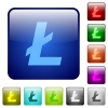 Litecoin digital cryptocurrency color square buttons - Litecoin digital cryptocurrency icons in rounded square color glossy button set