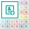 Add new contact flat color icons with quadrant frames - Add new contact flat color icons with quadrant frames on white background