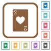 Two of hearts card simple icons - Two of hearts card simple icons in color rounded square frames on white background