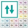 Data traffic flat color icons with quadrant frames - Data traffic flat color icons with quadrant frames on white background
