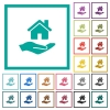 Home insurance flat color icons with quadrant frames - Home insurance flat color icons with quadrant frames on white background