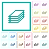 Printing papers flat color icons with quadrant frames - Printing papers flat color icons with quadrant frames on white background